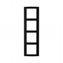 10143025 Рамкa B.3, 4-местная, алюминий, цвет: черный/полярная белизна