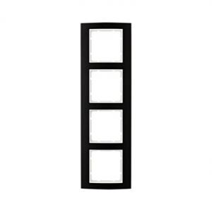 Berker 10143025 Рамкa B.3, 4-местная, алюминий, цвет: черный/полярная белизна серия  купить в Москве, цена в России: опт, розниц