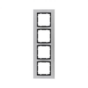 Berker 10143606 Рамкa B.7, 4-местная, нержавеющая сталь, цвет: антрацитовый серия  купить в Москве, цена в России: опт, розница