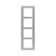Berker 10143609 Рамкa B.7, 4-местная, нержавеющая сталь, цвет: полярная белизна серия  купить в Москве, цена в России: опт, розн