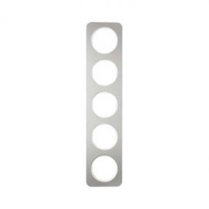 Berker 10152114 Рамка, R.1, 5-местная, нержавеющая сталь цвет: полярная белизна (261,97) серия  купить в Москве, цена в России: