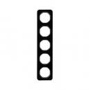 10152116 Рамка, R.1, 5-местная, стекло, цвет: черный (261,97)
