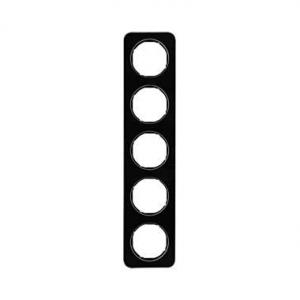Berker 10152116 Рамка, R.1, 5-местная, стекло, цвет: черный (261,97) серия  купить в Москве, цена в России: опт, розница   smart