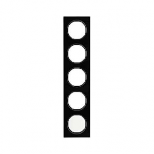 Berker 10152216 Рамка R.3, 5-местная, стекло, цвет: черный (261,97) серия  купить в Москве, цена в России: опт, розница | smarti