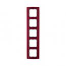 10153012 Рамкa B.3, 5-местная, алюминий, цвет: красный/антрацитовый
