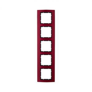 Berker 10153012 Рамкa B.3, 5-местная, алюминий, цвет: красный/антрацитовый серия  купить в Москве, цена в России: опт, розница |