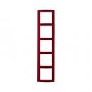 10153022 Рамкa B.3, 5-местная, алюминий, цвет: красный/полярная белизна