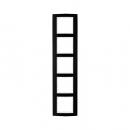 10153025 Рамкa B.3, 5-местная, алюминий, цвет: черный/полярная белизна