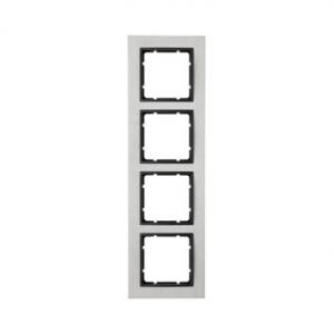 Berker 10243606 Рамкa B.7, 4-местная, нержавеющая сталь, цвет: антрацитовый серия  купить в Москве, цена в России: опт, розница