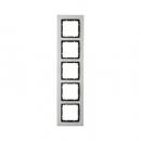 10253606 Рамкa B.7, 5-местная, нержавеющая сталь, цвет: антрацитовый