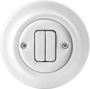 1413-0-1090(2022-205-64) Decento Выключатель 2-клавишный кнопочный 2НО-контакт,10А, в сборе