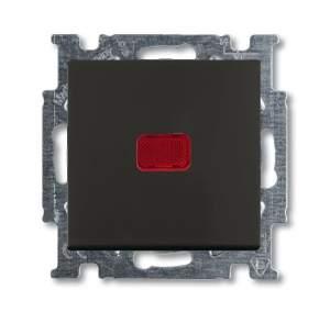 1413-0-1096 (2026 UCN-95) BJB Basic 55 Шато (чёрн) Выключатель кнопочный 1-клавишный, с линзой, без лампы, НО контакт