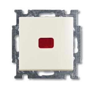 1413-0-1100 (2026 UCN-96) BJB Basic 55 Шале (бел) Выключатель кнопочный 1-клавишный, с линзой, без лампы, НО контакт