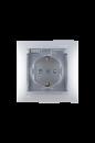 1590450-033 15 Алюминий Розетка 2Р+Е Schuko, со шторками, с крышкой, IP44, 16А, 250В, винт.заж.