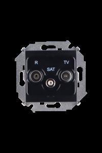 1591466-032 15 Чёрный Розетка R-TV-SAT одиночная, винт.заж.