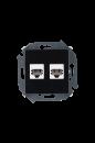1591589-032 15 Чёрный Розетка телефонная 2-я RJ11, винт.заж.