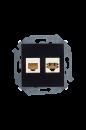 1591590-032 15 Чёрный Розетка телефонная + компьютерная RJ11+RJ45 кат.5е