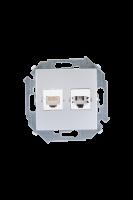 1591590-033 15 Алюминий Розетка телефонная + компьютерная RJ11+RJ45 кат.5е