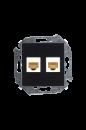 1591593-032 15 Чёрный Розетка компьютерная 2-я RJ45 кат.5е