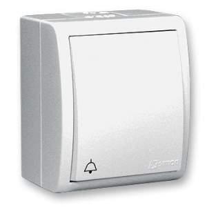 """1594150-03015 Aqua Белый Выключатель 1-клавишный кнопочный с символом """"звонок"""" наружный, IP54"""