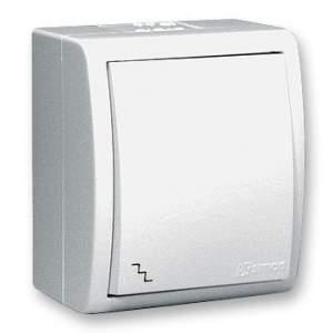 1594201-03015 Aqua Белый Переключатель 1-клавишный наружный, IP54