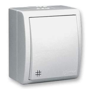 1594254-03015 Aqua Белый Переключатель 1-клавишный перекрестный с/п наружный, IP54