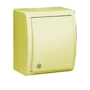 1594254-03115 Aqua Бежевый Переключатель 1-клавишный перекрестный с/п наружный, IP54