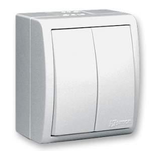 1594398-03015 Aqua Белый Выключатель 2-клавишный наружный, IP54