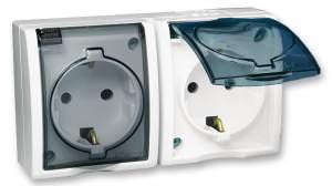 1594443-03015 Aqua Белый Розетка 2-я с/з с крышкой с защитными шторками наружная,IP54