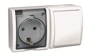 1594511-030 15 Aqua Белый Блок, розетка 2P+E Schuko 16А 250В + выкл.10А 250В, IP54