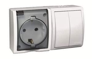 1594515-030 15 Aqua Белый Блок, розетка 2P+E Schuko 16А 250В + выкл.двойной 10А 250В, IP54