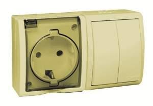 1594515-031 15 Aqua Бежевый Блок, розетка 2P+E Schuko 16А 250В + выкл.двойной 10А 250В, IP54
