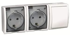 1594526-030 15 Aqua Белый Блок, розетка 2-я, 2P+E Schuko 16А 250В + выкл.проходной 10А 250В, IP54