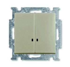 B 2006/5 UCGL-95-507 BJB Basic 55 DIY Шато (чёрн) Выключатель 2-клавишный с подсветкой