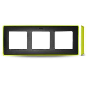 8201630-262 82 Detail Рамка, 3 поста, графит, неоново-желтое основание
