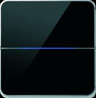 Enzo лицевая панель - двухклавишный - стекло черное арт.203-03