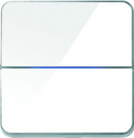 Enzo лицевая панель - двухклавишный - стекло белое арт.203-04