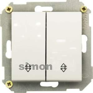 34397-030 34 Белый Выключатель двухклавишнный проходной (переключатель), 10А, 250В