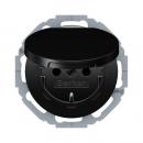 47442045 Штепсельная розетка SCHUKO с откидной крышкой, черная, с блеском, с защитой от детей VDE 0620-1