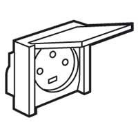 55706 Plexo Серый Розетка с/з с крышкой,3К+З 20А,400В,винтовой зажим, встраиваемая, в сборе IP44