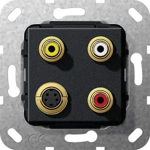 566110 Разъем S Video,сост,тюльпан аудио