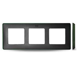 8201630-250 82 Detail Рамка, 3 поста, графит, зеленое основание
