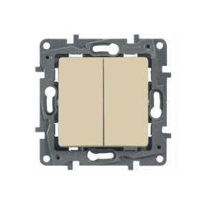 672302 Etika Крем Выключатель 2-х клавишный, 10А, винт. клем.