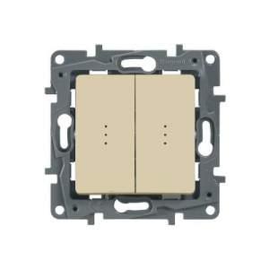 672304 Etika Крем Выключатель 2-х клавишный с подсветкой, 10А, винт. клем.