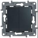 672616 Etika Антрацит Переключатель 2-клавишный с подсветкой, 10А, авт. клем