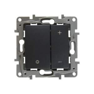 672618 Etika Антрацит Светорегулятор нажимной, 400Вт