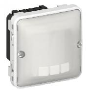 69502 Plexo Серый/Белый Мех Датчик движения Стандарт 500-1000Вт 3-х провод.схема подкл-я IP55