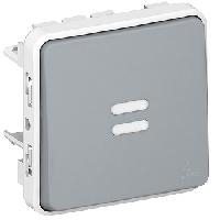 69513 Plexo Серый Мех Переключатель 1-клавишный с подсветкой IP55