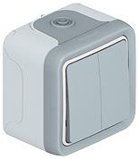 69525 Plexo Серый Мех Переключатель 2-клавишный IP55