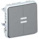 69526 Plexo Серый Мех Переключатель 2-клавишный с подсветкой IP55